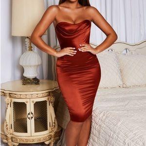 Strapless Bustier Satin Knee Length Dress